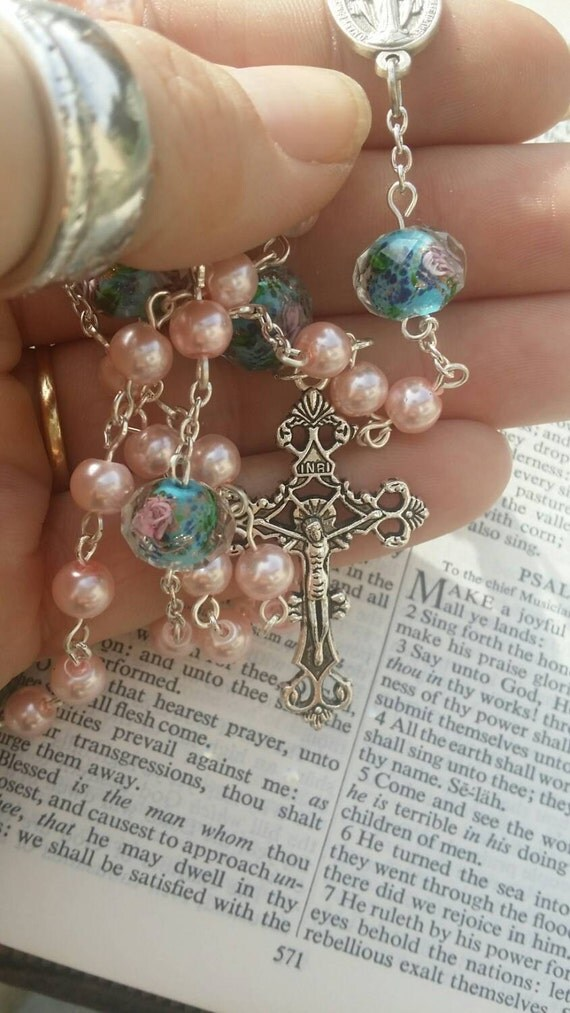 Pretty rosary rosary necklace Catholic rosary pink rosary