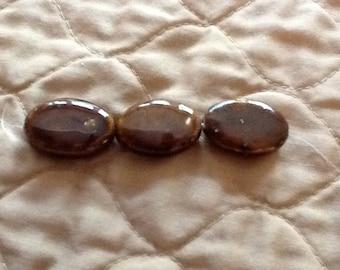 Brown Beads, Large Brown Beads, Large Porcelain Beads, Brown Porcelain Beads, Puffed Oval Beads, Honey Brown Beads, Large Beads