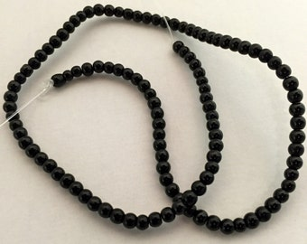 Black Beads, Black Glass Beads, Beads, Black Round Beads, Round Beads, Glass Beads