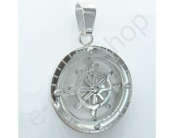 ROUND PENDANT-shaped compass STEEL with movable rudder