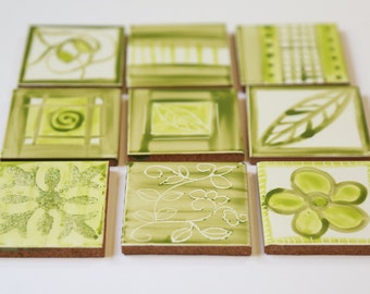 A set of 9 small Lime green tiles