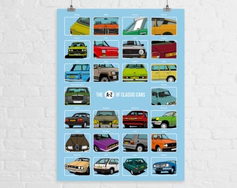 The A-Z of Classic Cars - A3 Print