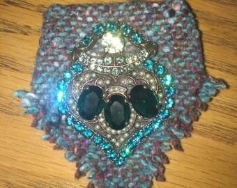 Vintage Rhinestone Furla Brooch / Vintage Jewelry / Costume Jewelry