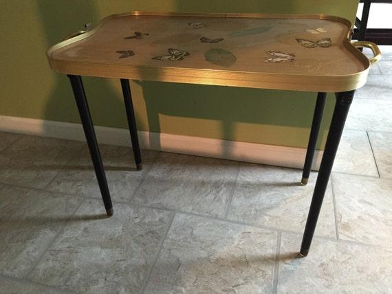 vintage art deco tea coffee serving tray table w folding legs. Black Bedroom Furniture Sets. Home Design Ideas
