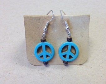 Turquoise Peace sign and Wood Bead Earrings