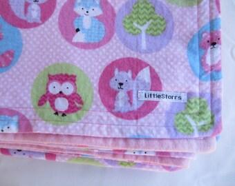 Pink Woodland Flannel Baby Blanket - Baby Shower, Newborn, Gift, Present, Floor Mat, Play Mat,  Swaddle, Bedding, Nursery, Cot Blanket