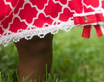Red and white sundress with matching headband