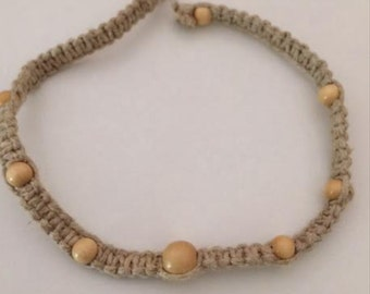 Hemp Necklace with Wood Beads