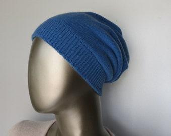 100% CASHMERE HAT blue