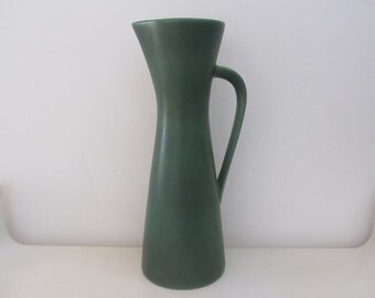 Vintage XL dark green/avocato pottery vase - Made in Western Germany - 1950s