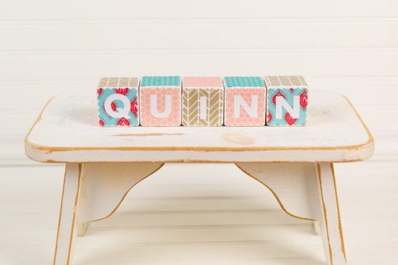 custom baby name blocks 2 inch wood blocks by millerkylestudios. Black Bedroom Furniture Sets. Home Design Ideas