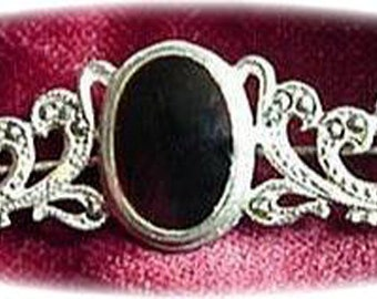 Marcasite Silver 925 Bar Brooch with Black Center