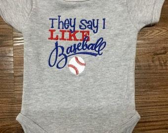 Baby boy baseball one piece / They say I Like Baseball romper / baby baseball outfit /Little boy baseball shirt