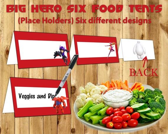 Big Hero 6 Food Tent Cards Big Hero Six Food Tents instant download print Big Hero 6 Decoration Big Hero 6 Place Holder Card Big Hero Six