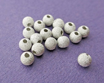 New 5mm 925 Sterling Silver Stardust Round Spacer Bead 12pcs