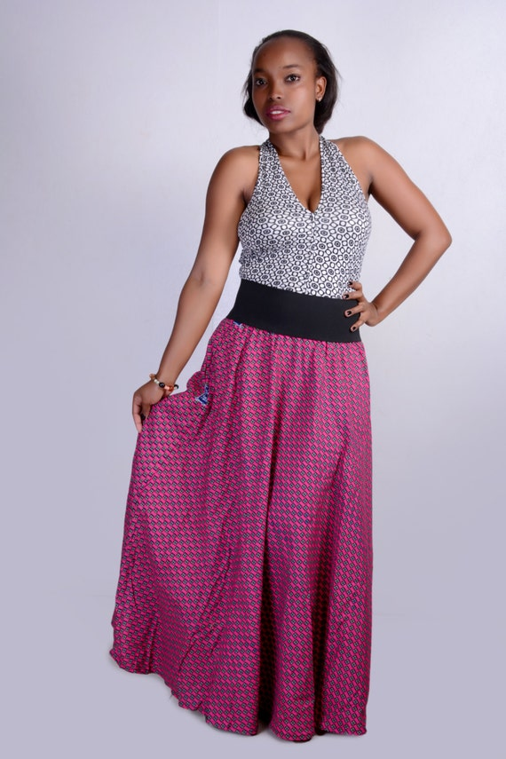 pale pink checkered maxi skirt by africologie on etsy