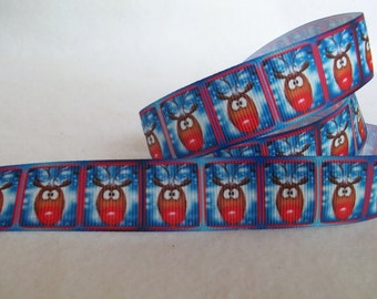 "2-2/3 Y Piece, 7/8"" Wide Christmas Red Nose Reindeer Grosgrain Ribbon"