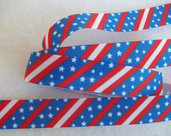Patriotic Stars and Stripes Grosgrain Ribbon 7/8""