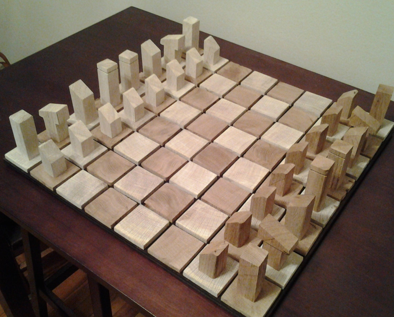 White Oak Wooden Chess Board And Pieces