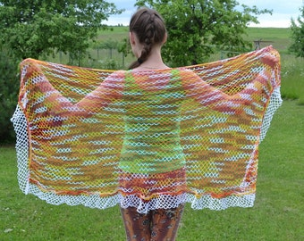 Mixed color rectangular shawl, crochet shawl, rectangular shawl, cotton shawl
