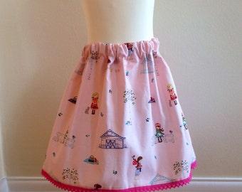 Girls  skirt, pretty pink garden design, pink lace trim