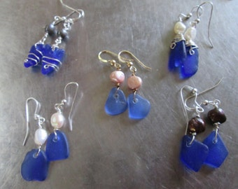 5 pairs Genuine sea glass Jewelry Supply -Blue or green sea glass- wholesale sea glass Jewelry supply- Bride maids gifts