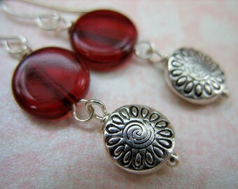 Garnet Red and Silver Coin Dangle Earrings - E-0006
