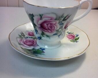 Royal Grafton pink roses teacup and saucer