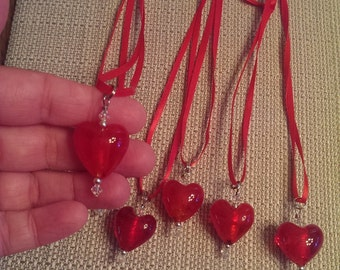 Valentine Heart Glass heart necklace was 5.00 now 2.50