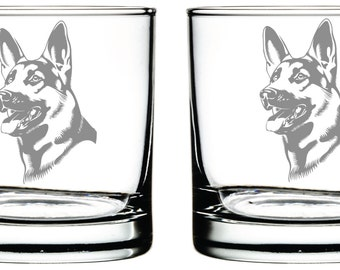 German Shepherd Glass- Set of 2 -Old Fashioned Glass -Personalized Etched Glasses