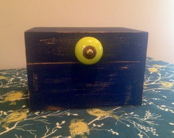 Distressed dark blue Recipe/keepsake box, kitchen, jewelry, storage