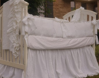 Crib Bedding white with Storybook sash ties. 3pc set  w. crib bumper, crib skirt,  and crib sheet.  Baby girl bedding