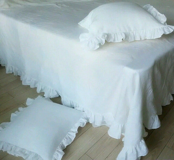 Linen sheets with ruffle edge shabby chic bedding linen