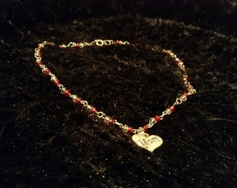 Red and White mom Necklace
