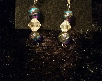 Purple and crystal confetti earrings