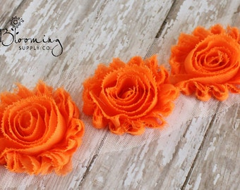 CLEARANCE! Orange Shabby Rose Trim - 1/2 Yard Shabby Chiffon Rose Trim - Wholesale Flowers - Boutique Hair Supplies - DIY Headband Supplies