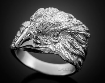 Sterling Silver American Eagle Head Men's Statement Ring