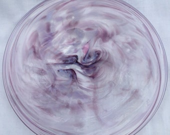 Pale Purple and Lavender Hand Blown Glass Plate (AW P204)