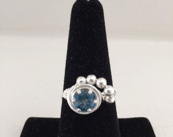 Blue Topaz Sterling Silver Ring w/Sterling Silver Beads
