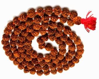 Rudraksha Mala, Genuine 5 mukhi(faces) beads from Indonesia, made and Energized in Varanasi the hindu holy city