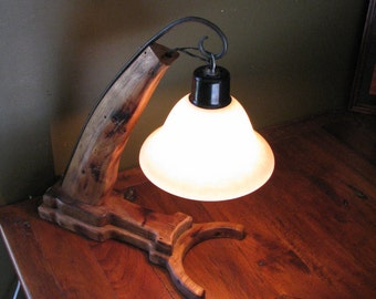 Table Lamp Horse Hame With Metal Accents Upcycledtable Light