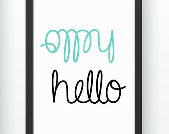 Wall Print A4 and A3 - Hello in Mint - Instant DOWNLOAD