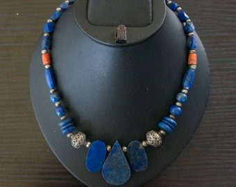 Exceptional TURQUOISE CORAL LAPIS Lazuli Silver Necklace