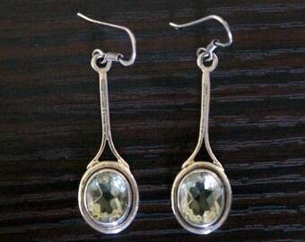 Delicate GREEN AMETHYST SILVER Earrings