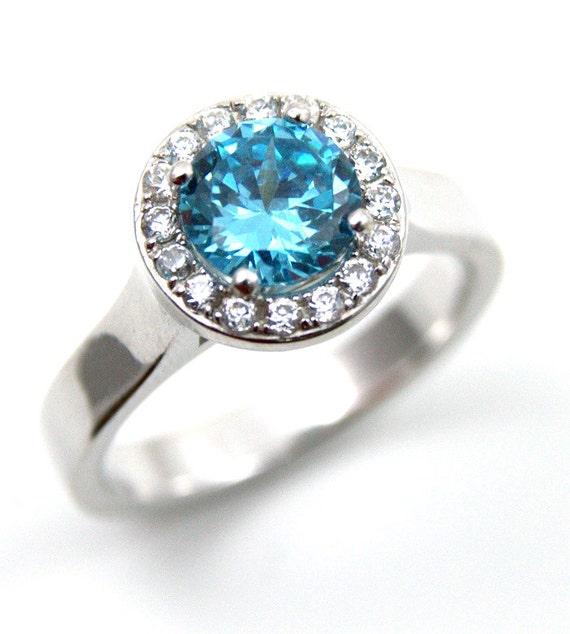 unique 1ct aquamarine halo ring solid by