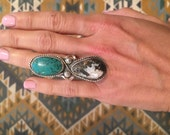 Double turquoise and sterling silver ring size 5