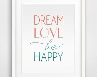 Coral wall print, Mint words print, Inspirational quote wall art, Wall print, Quotes wall print, Coral Home decor