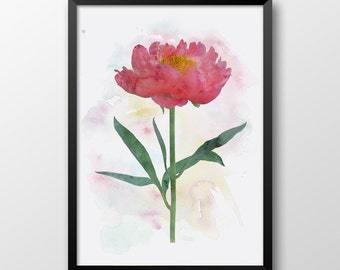 Peony Print, Watercolor peony flower, Watercolor print, Wall decor, Printable flower 155