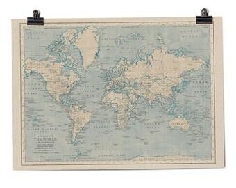 World Map in Caspian Blue art print