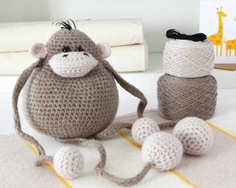 Amigurumi Crochet Kits,Crochet Animal Pattern - Included,Crochet Kit,DIY Crochet Kit,Crochet Animal,Amigurumi,Crochet Kits - Monkey Kit